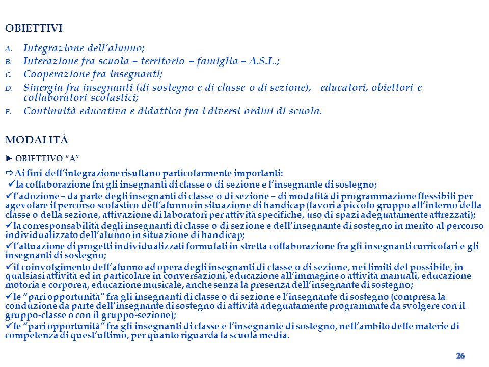 Integrazione dell'alunno;