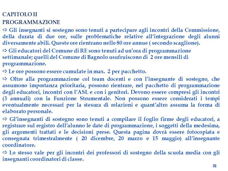 CAPITOLO II PROGRAMMAZIONE.