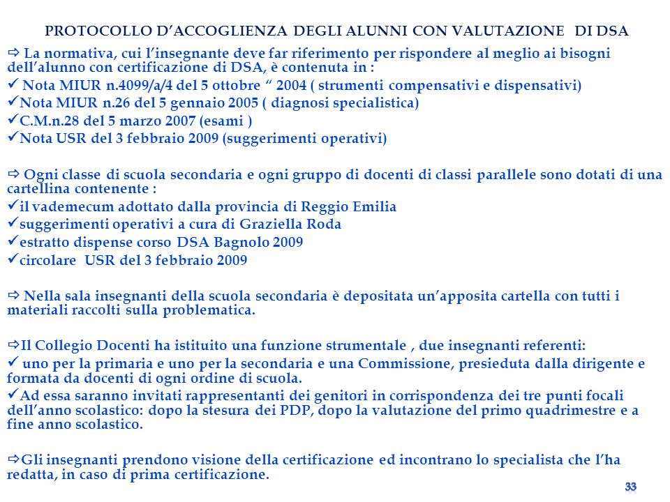 PROTOCOLLO D'ACCOGLIENZA DEGLI ALUNNI CON VALUTAZIONE DI DSA