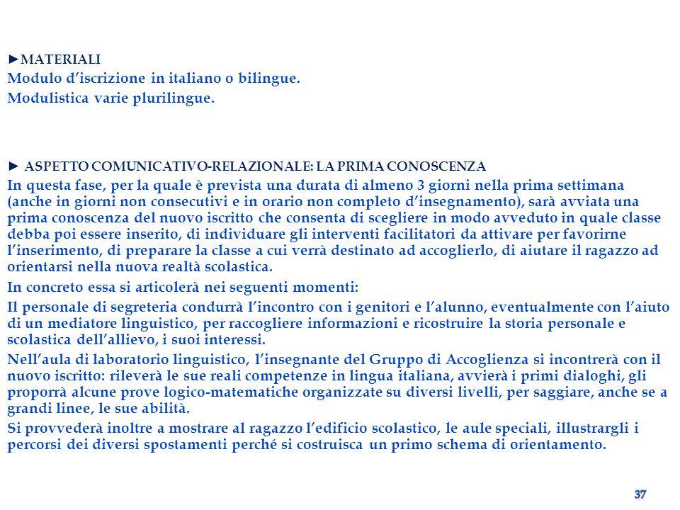 Modulo d'iscrizione in italiano o bilingue.