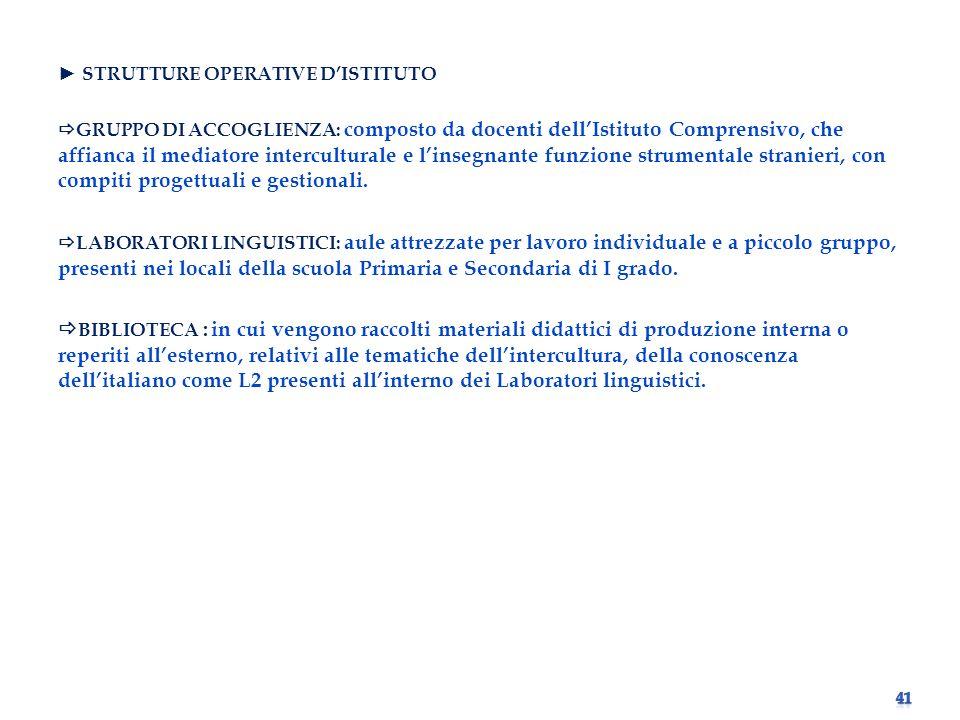 ► STRUTTURE OPERATIVE D'ISTITUTO