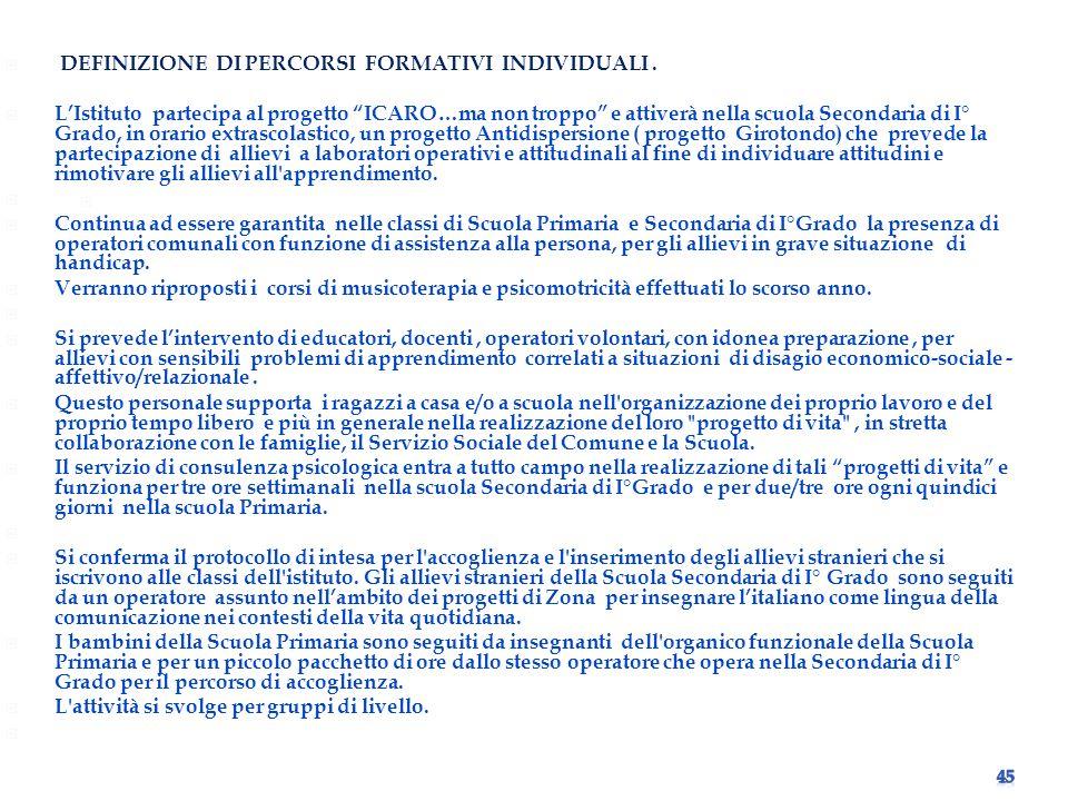DEFINIZIONE DI PERCORSI FORMATIVI INDIVIDUALI .