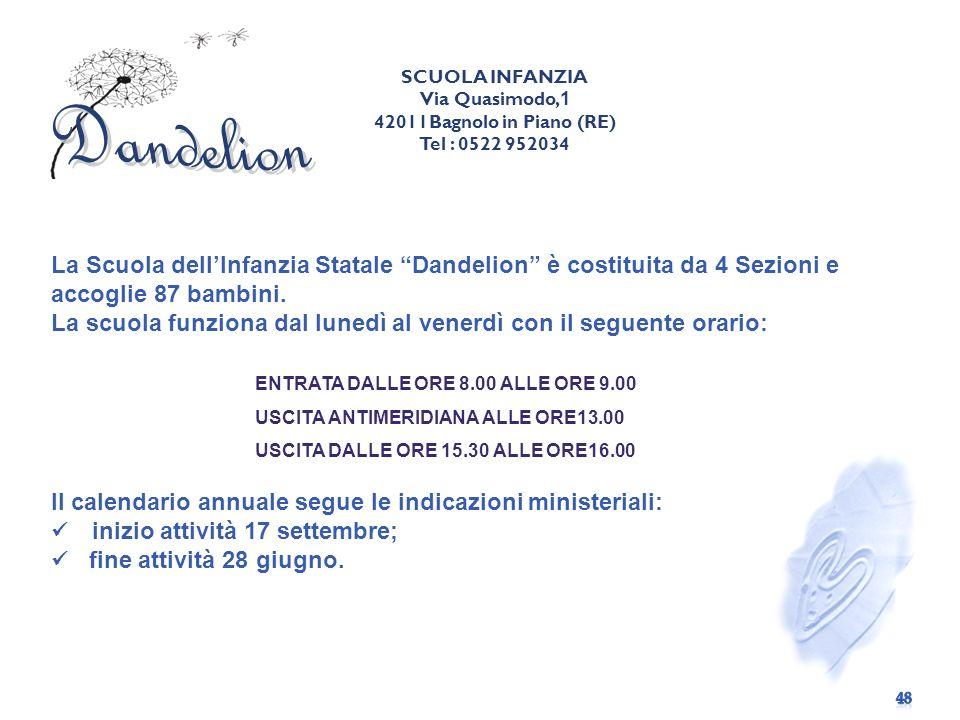 SCUOLA INFANZIA Via Quasimodo,1. 42011Bagnolo in Piano (RE) Tel : 0522 952034. Dandelion.