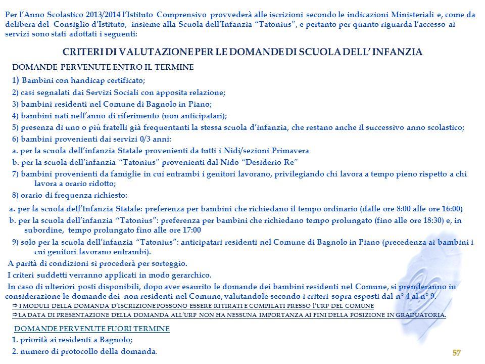 CRITERI DI VALUTAZIONE PER LE DOMANDE DI SCUOLA DELL' INFANZIA