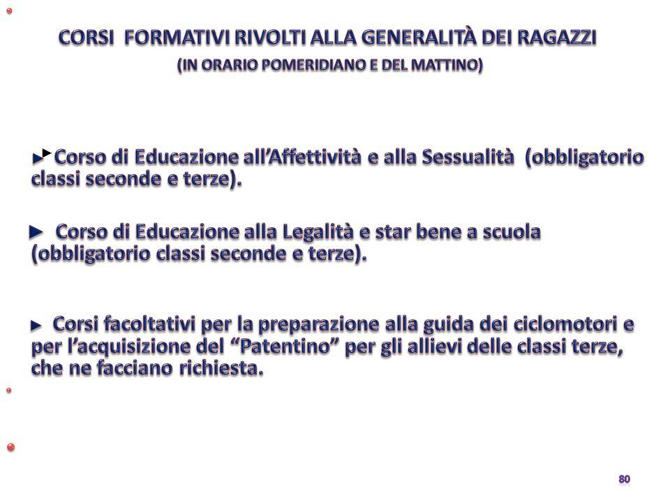 CORSI FORMATIVI RIVOLTI ALLA GENERALITÀ DEI RAGAZZI. (IN ORARIO POMERIDIANO E DEL MATTINO)