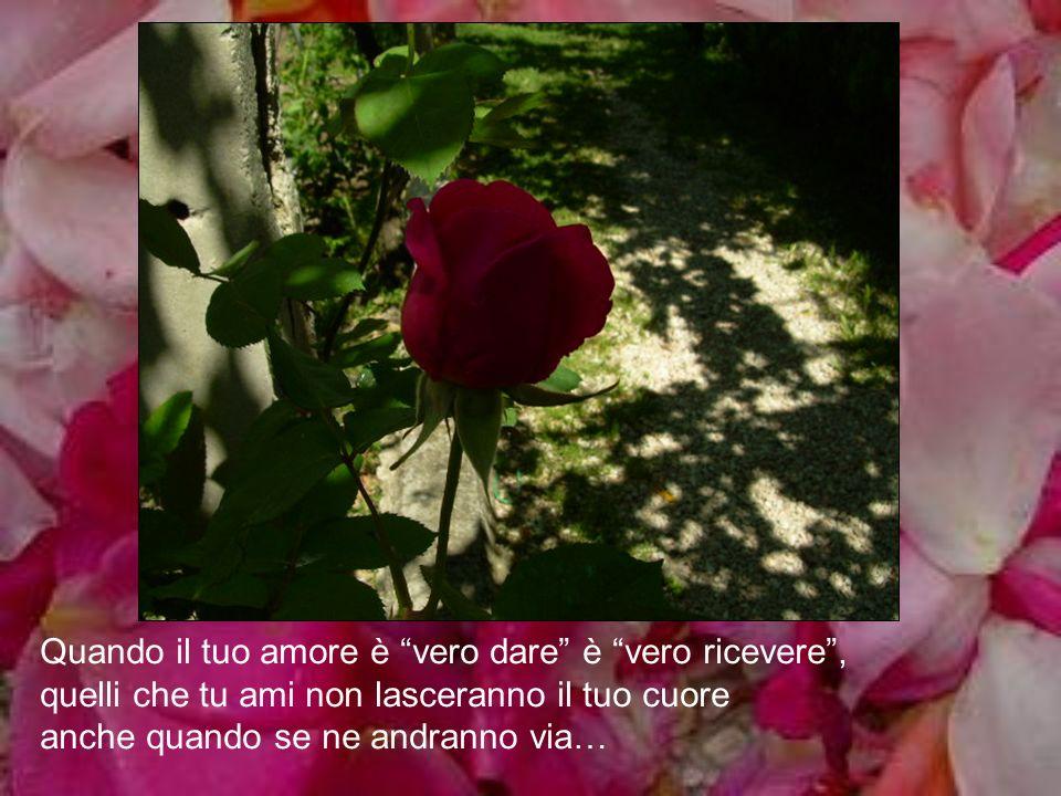 Quando il tuo amore è vero dare è vero ricevere , quelli che tu ami non lasceranno il tuo cuore anche quando se ne andranno via…
