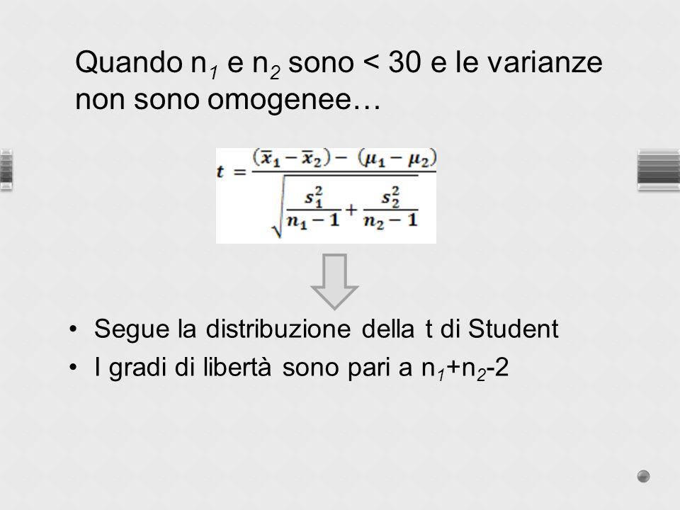 Quando n1 e n2 sono < 30 e le varianze non sono omogenee…
