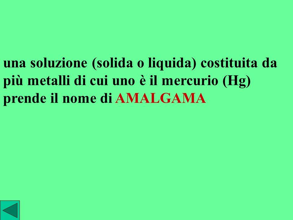 una soluzione (solida o liquida) costituita da più metalli di cui uno è il mercurio (Hg) prende il nome di AMALGAMA