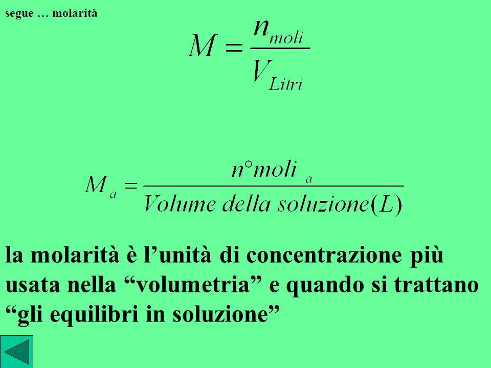 segue … molarità la molarità è l'unità di concentrazione più usata nella volumetria e quando si trattano gli equilibri in soluzione