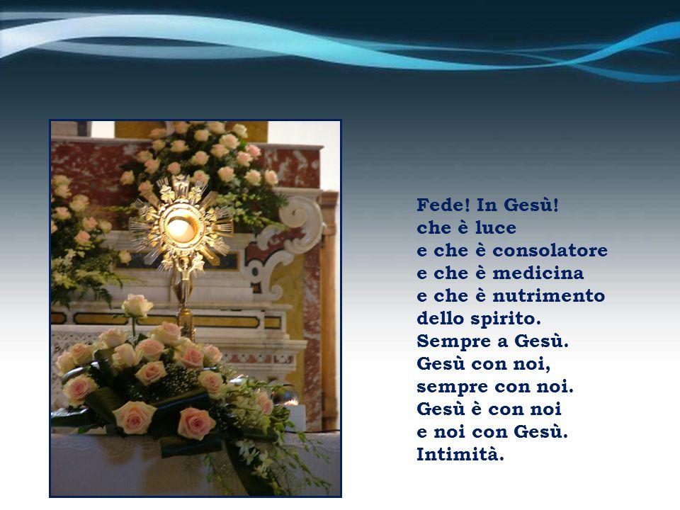 Fede! In Gesù! che è luce. e che è consolatore. e che è medicina. e che è nutrimento. dello spirito.