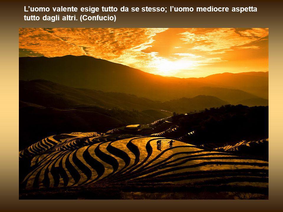 L'uomo valente esige tutto da se stesso; l'uomo mediocre aspetta tutto dagli altri. (Confucio)