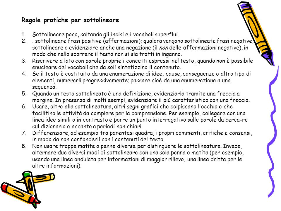 Regole pratiche per sottolineare