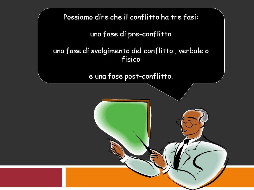 Possiamo dire che il conflitto ha tre fasi: una fase di pre-conflitto