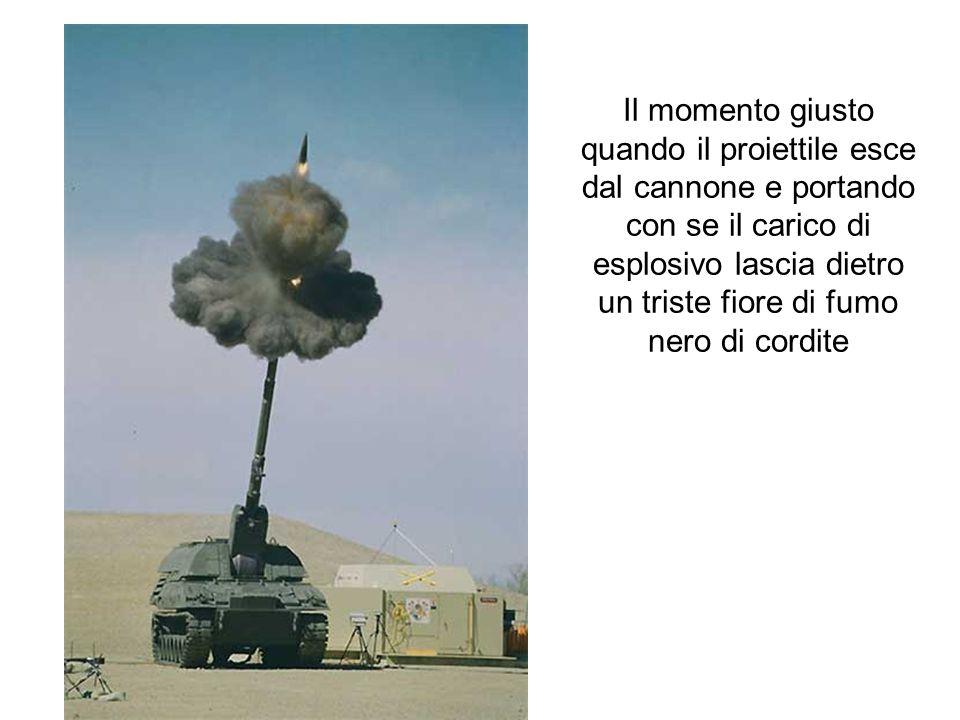 Il momento giusto quando il proiettile esce dal cannone e portando con se il carico di esplosivo lascia dietro un triste fiore di fumo nero di cordite