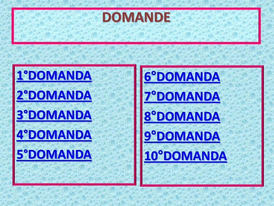 DOMANDE 1°DOMANDA 6°DOMANDA 2°DOMANDA 7°DOMANDA 3°DOMANDA 8°DOMANDA