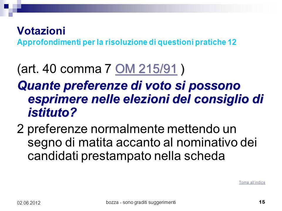 Votazioni Approfondimenti per la risoluzione di questioni pratiche 12