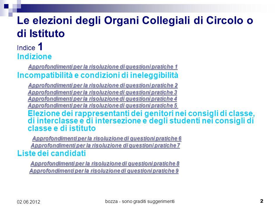 Le elezioni degli Organi Collegiali di Circolo o di Istituto Indice 1