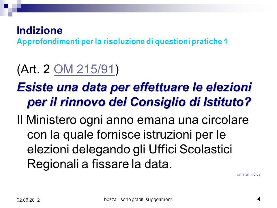 Indizione Approfondimenti per la risoluzione di questioni pratiche 1