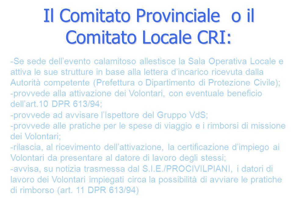 Il Comitato Provinciale o il Comitato Locale CRI:
