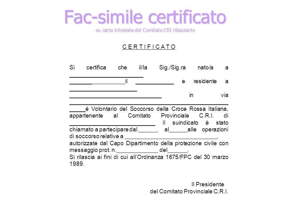 Fac-simile certificato su carta intestata del Comitato CRI rilasciante