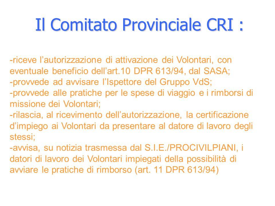 Il Comitato Provinciale CRI :