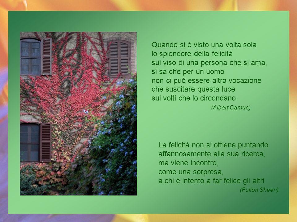 Quando si è visto una volta sola lo splendore della felicità sul viso di una persona che si ama, si sa che per un uomo non ci può essere altra vocazione che suscitare questa luce sui volti che lo circondano (Albert Camus)