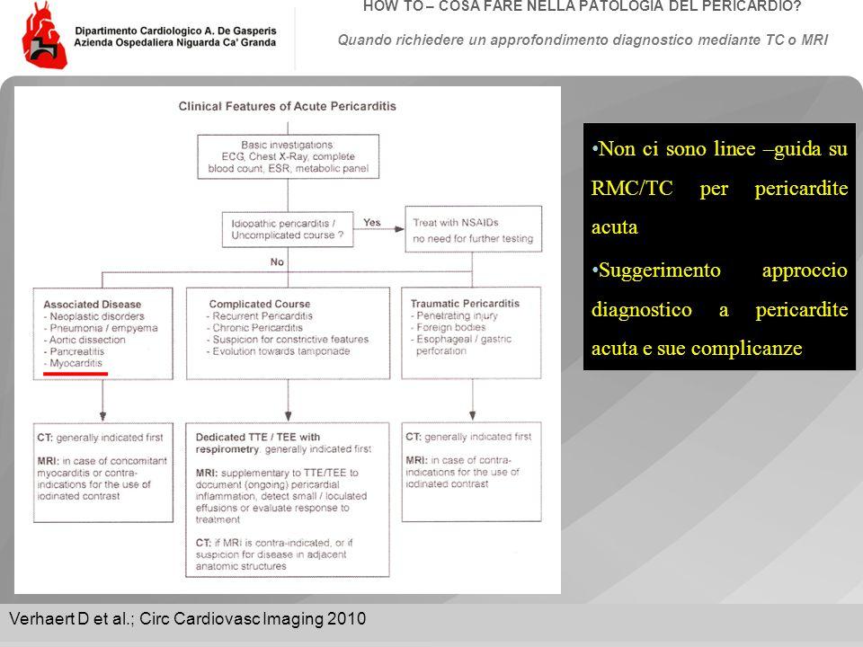 Non ci sono linee –guida su RMC/TC per pericardite acuta