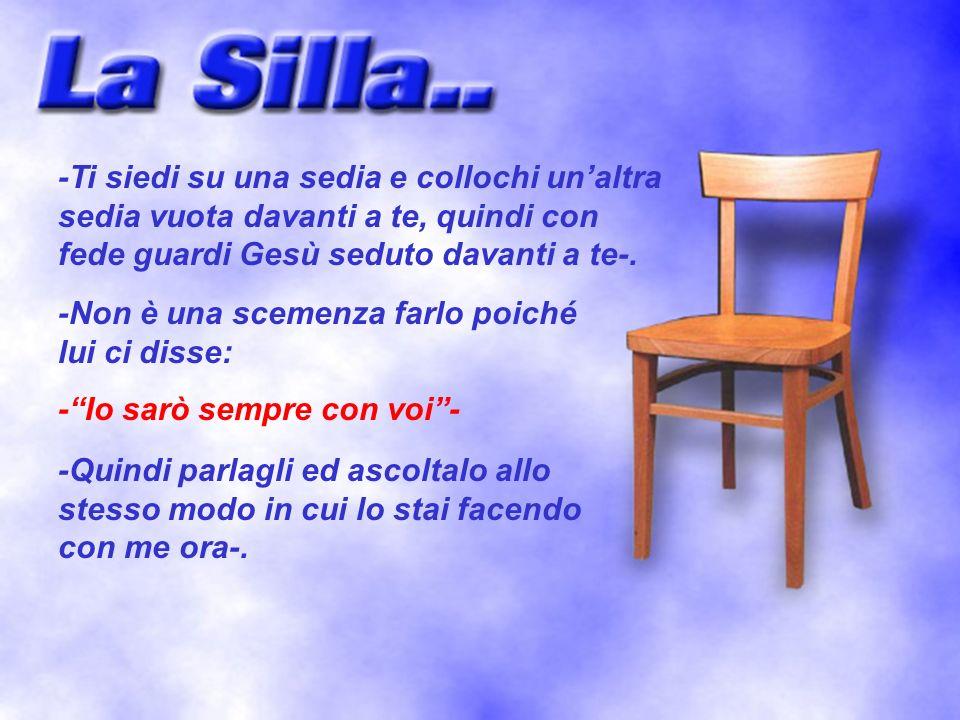 -Ti siedi su una sedia e collochi un'altra sedia vuota davanti a te, quindi con fede guardi Gesù seduto davanti a te-.