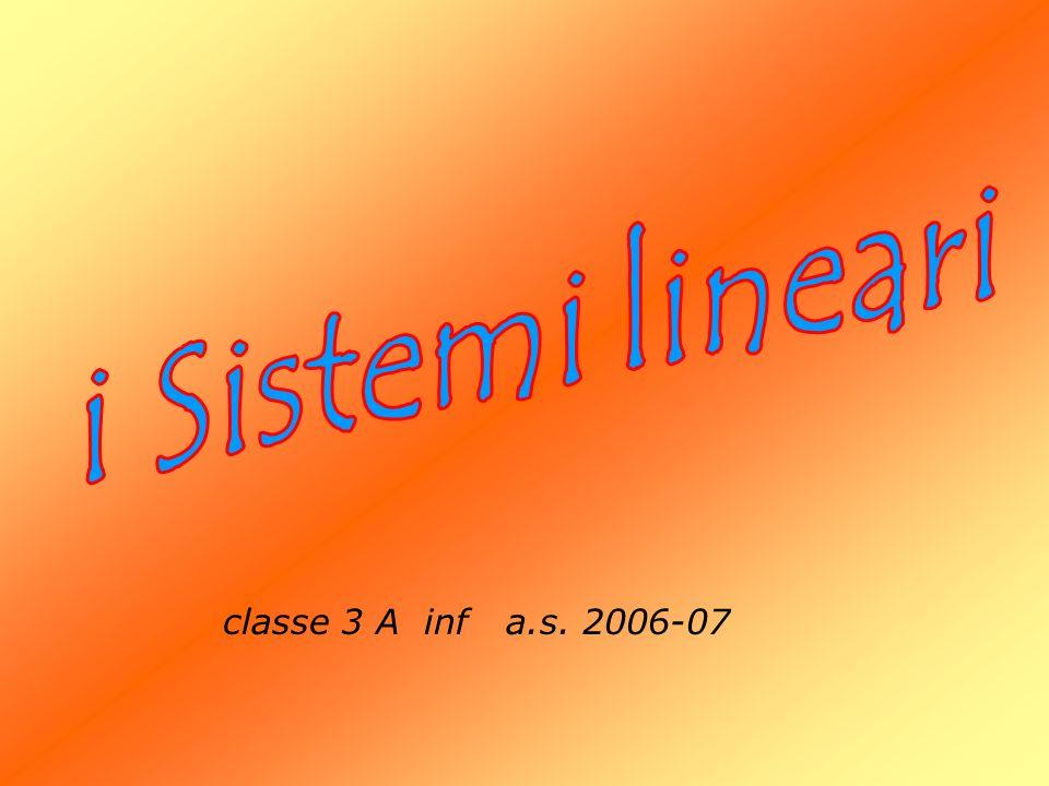 i Sistemi lineari classe 3 A inf a.s. 2006-07