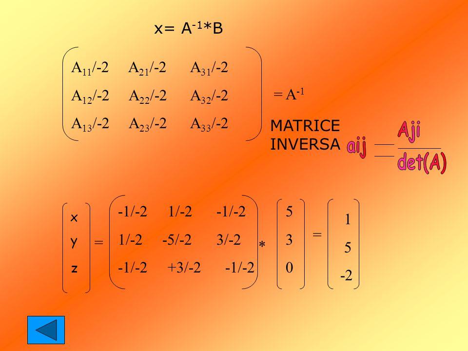 x= A-1*B A11/-2 A21/-2 A31/-2 A12/-2 A22/-2 A32/-2