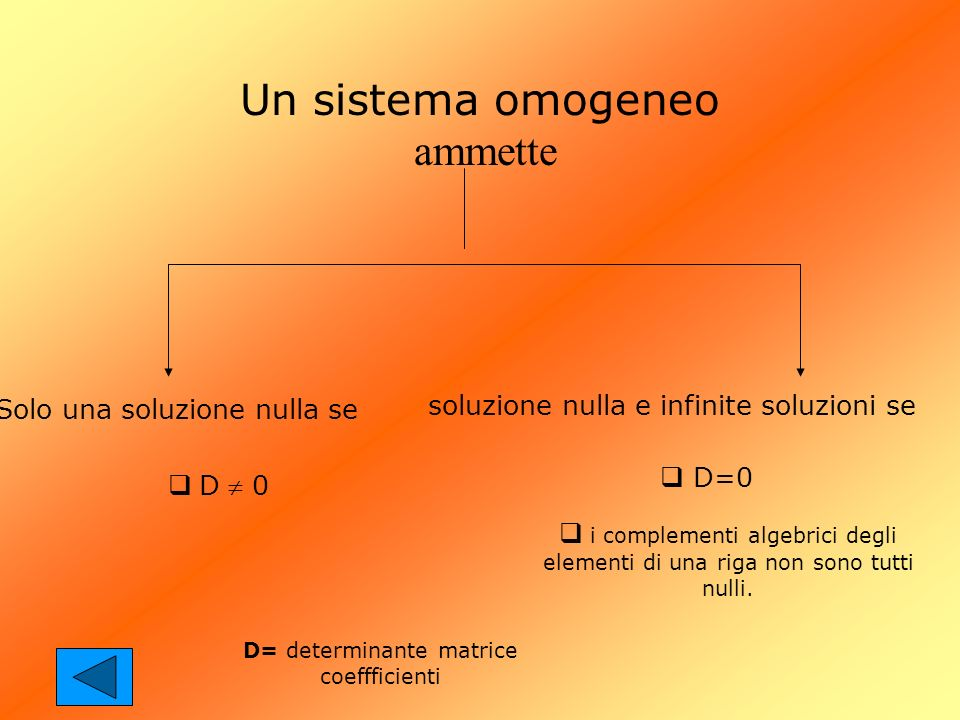 Un sistema omogeneo ammette
