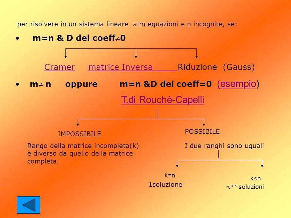 T.di Rouchè-Capelli k<n n-k soluzioni m=n & D dei coeff0