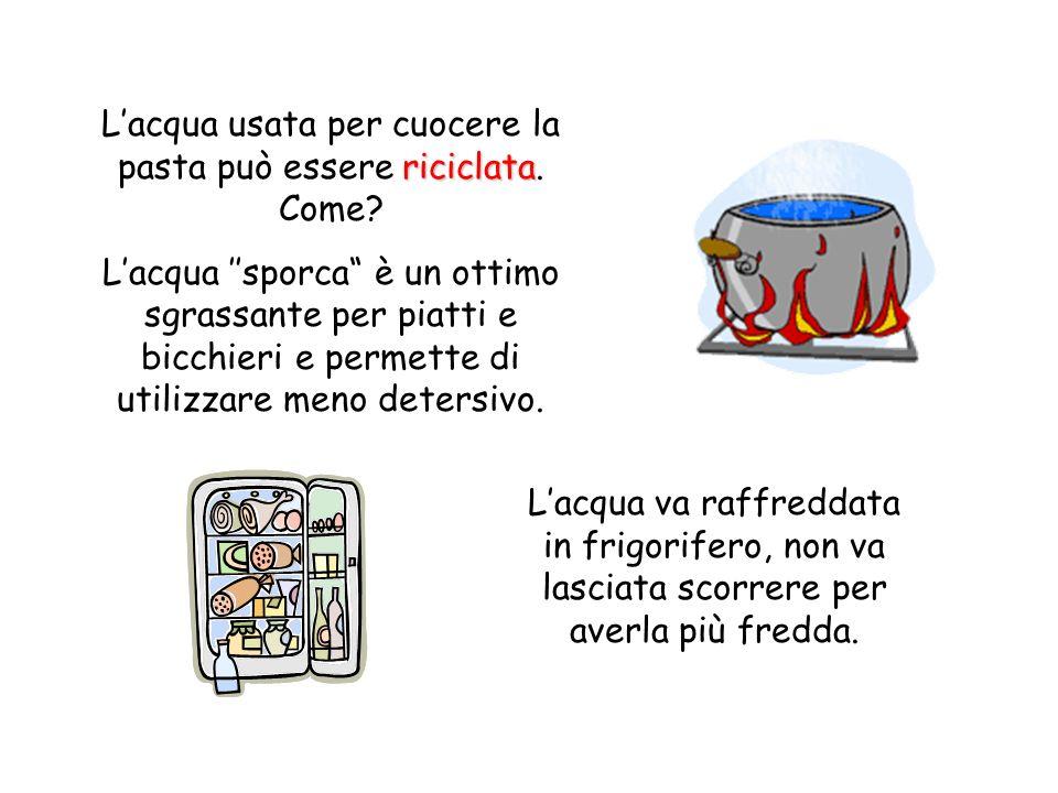 L'acqua usata per cuocere la pasta può essere riciclata. Come