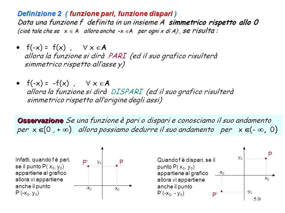Definizione 2 ( funzione pari, funzione dispari ) Data una funzione f definita in un insieme A simmetrico rispetto allo 0 (cioè tale che se x  A allora anche -x A per ogni x di A) , se risulta :