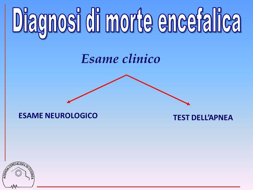 Esame clinico Diagnosi di morte encefalica ESAME NEUROLOGICO