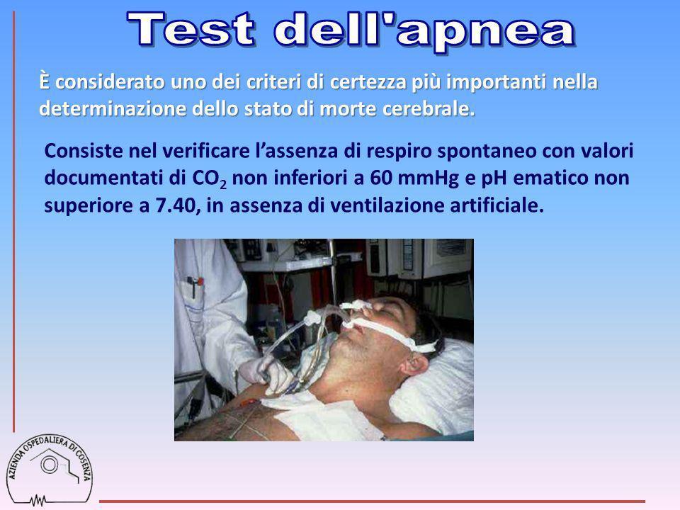 Test dell apneaÈ considerato uno dei criteri di certezza più importanti nella determinazione dello stato di morte cerebrale.