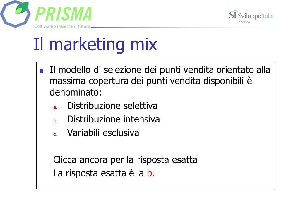 Il marketing mix Il modello di selezione dei punti vendita orientato alla massima copertura dei punti vendita disponibili è denominato: