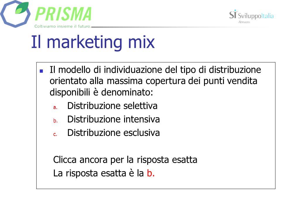 Il marketing mix Il modello di individuazione del tipo di distribuzione orientato alla massima copertura dei punti vendita disponibili è denominato: