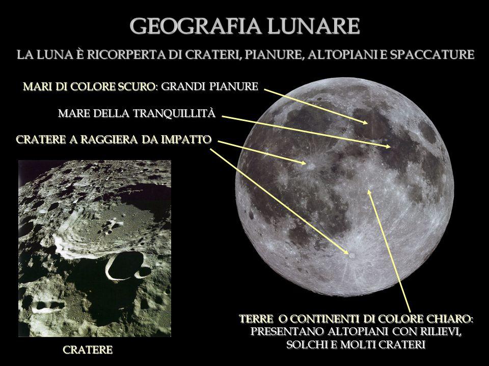 GEOGRAFIA LUNARE LA LUNA È RICORPERTA DI CRATERI, PIANURE, ALTOPIANI E SPACCATURE. MARI DI COLORE SCURO: GRANDI PIANURE.