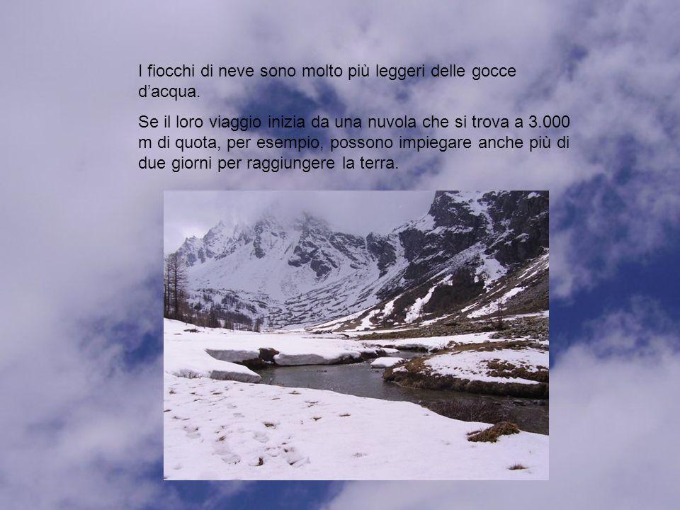 I fiocchi di neve sono molto più leggeri delle gocce d'acqua.