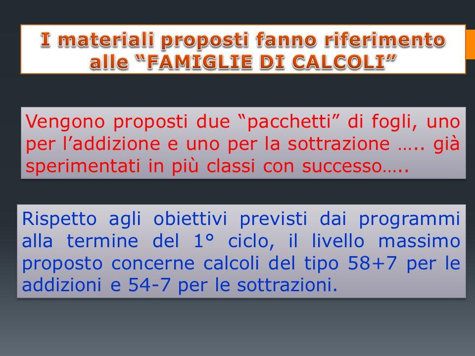 I materiali proposti fanno riferimento alle FAMIGLIE DI CALCOLI