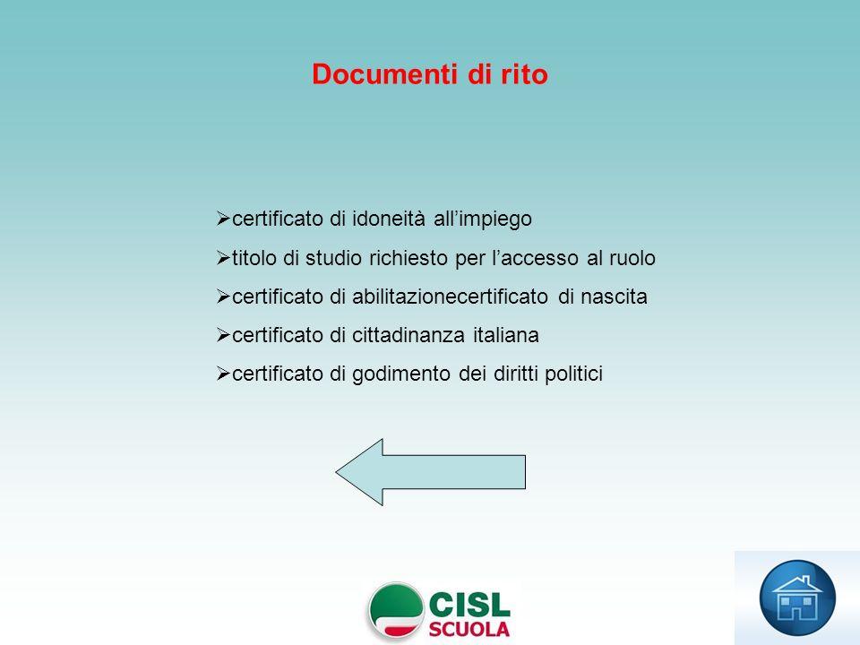 Documenti di rito certificato di idoneità all'impiego