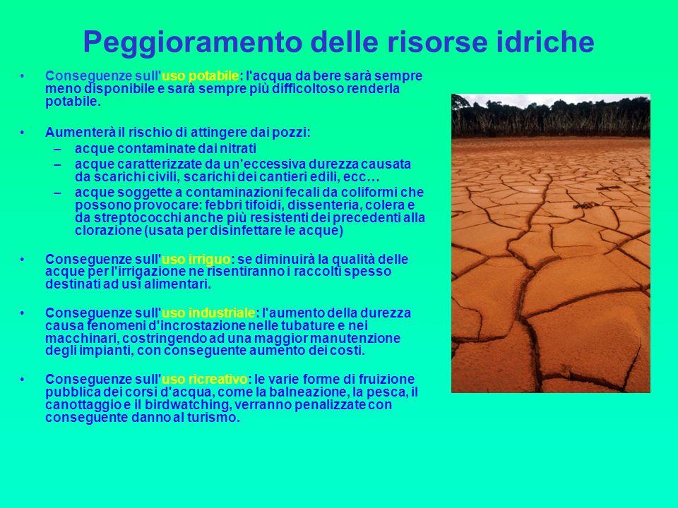 Peggioramento delle risorse idriche