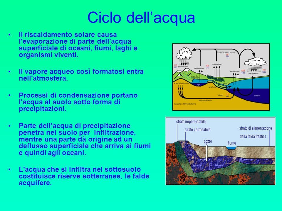 Ciclo dell'acqua Il riscaldamento solare causa l evaporazione di parte dell acqua superficiale di oceani, fiumi, laghi e organismi viventi.
