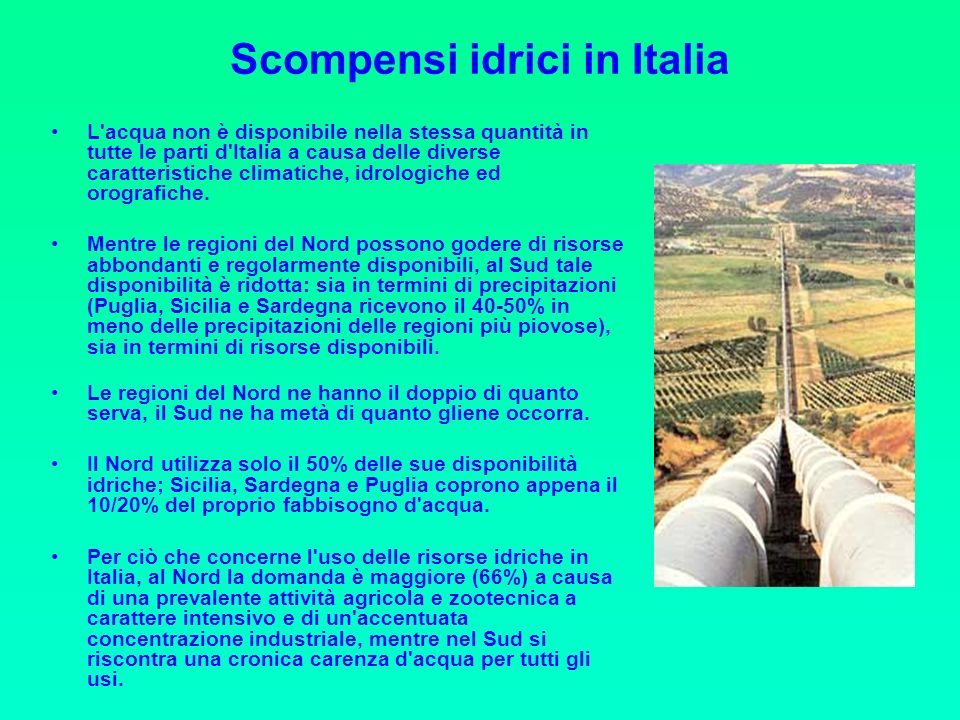 Scompensi idrici in Italia