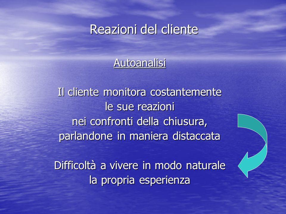 Reazioni del cliente Autoanalisi Il cliente monitora costantemente