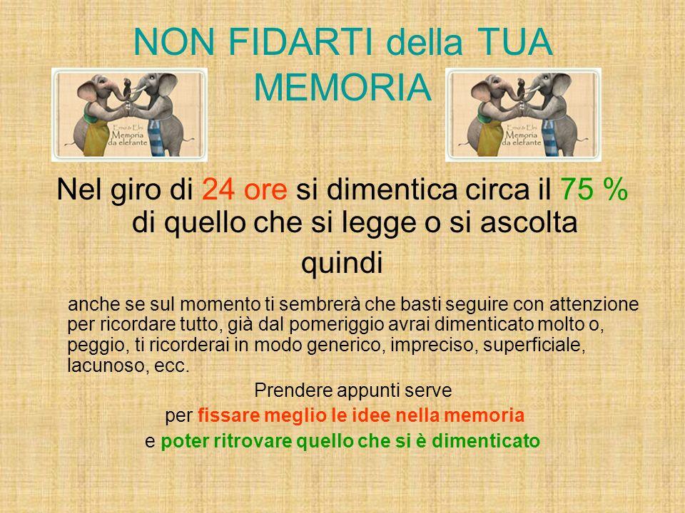 NON FIDARTI della TUA MEMORIA