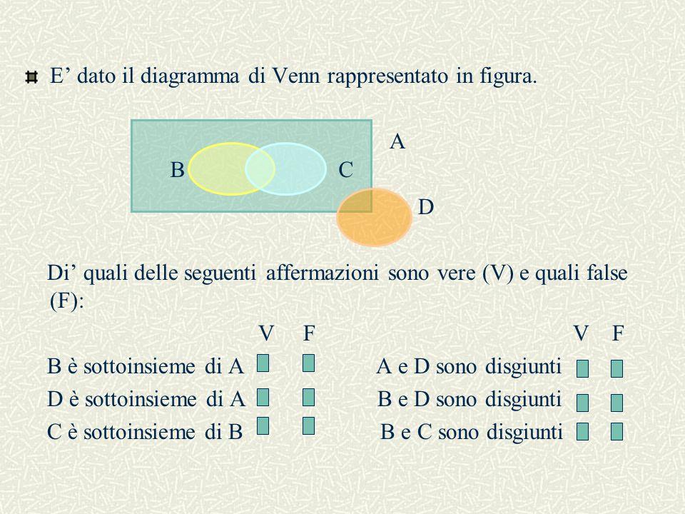 E' dato il diagramma di Venn rappresentato in figura.