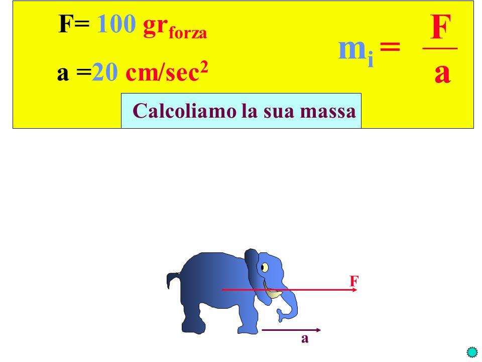 F a mi = F= 100 grforza a =20 cm/sec2 Calcoliamo la sua massa F a