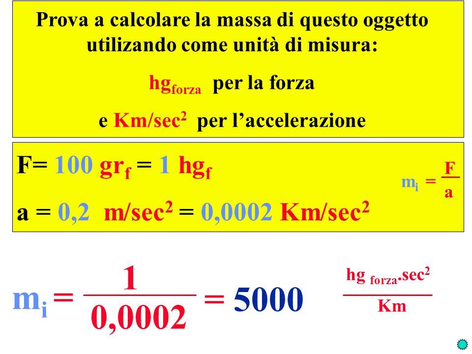 e Km/sec2 per l'accelerazione